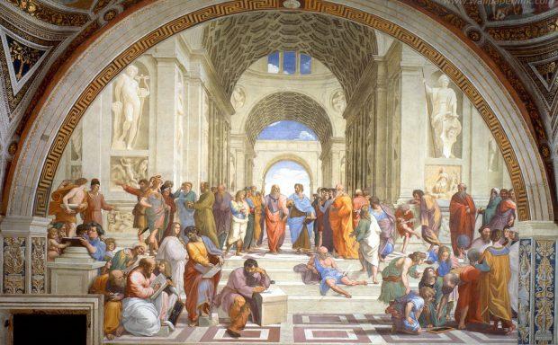 引用:http://paradjanov.biz/ 「アテナイの学堂」-ラファエロ 中央左側の人物が「プラトン」右側がアリストテレス